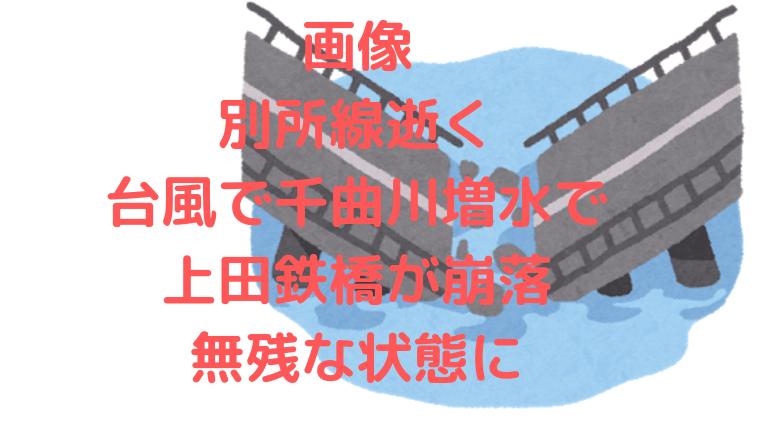 画像別所線逝く,台風で千曲川増水で上田鉄橋が崩落,無残な状態
